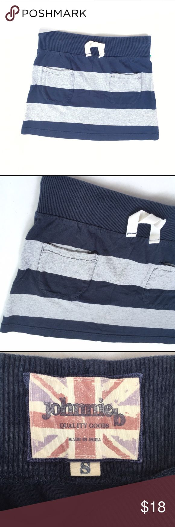 Johnnie B Gray & Navy Striped Skirt, small Johnnie B Gray & Navy Striped jersey Knit Skirt, size small. Front pockets. Drawstring waist. In very good pre-owned condition!  🎀I carry all Sizes! Search for your size: 🎀BUNDLE and SAVE! 🎀REASONABLE offers WELCOME 🎀NO TRADES NO HOLDS 🎀Thank you for stopping by!❤️ Mini Boden Bottoms Skirts