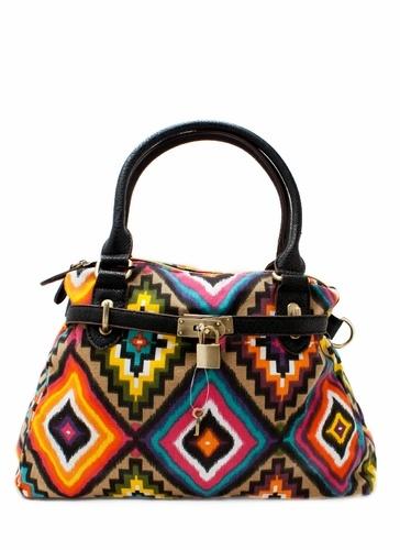 Tribal lock and key handbag