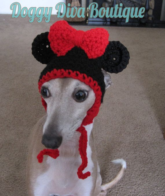 Crochet Minnie Mouse Hat for Cat or Dog Photo Prop, Costume in Black and Red