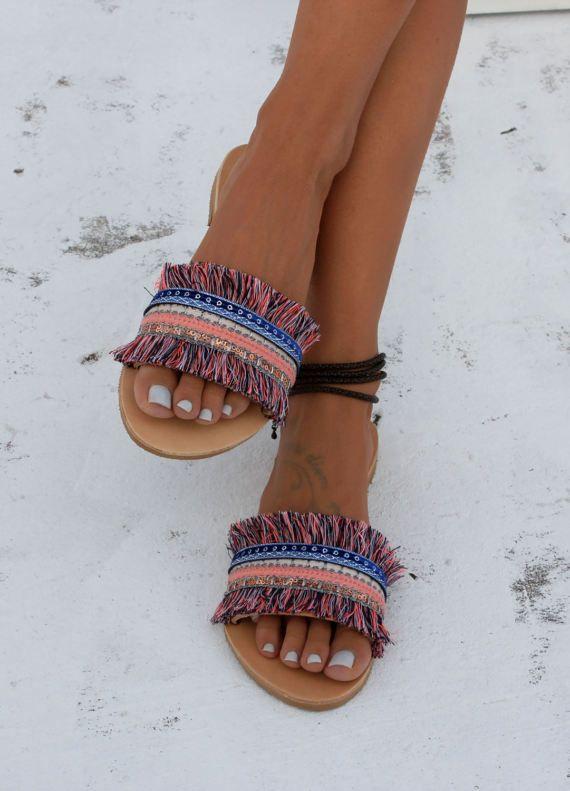 Handmade leather sandals Slip on sandals Greek leather