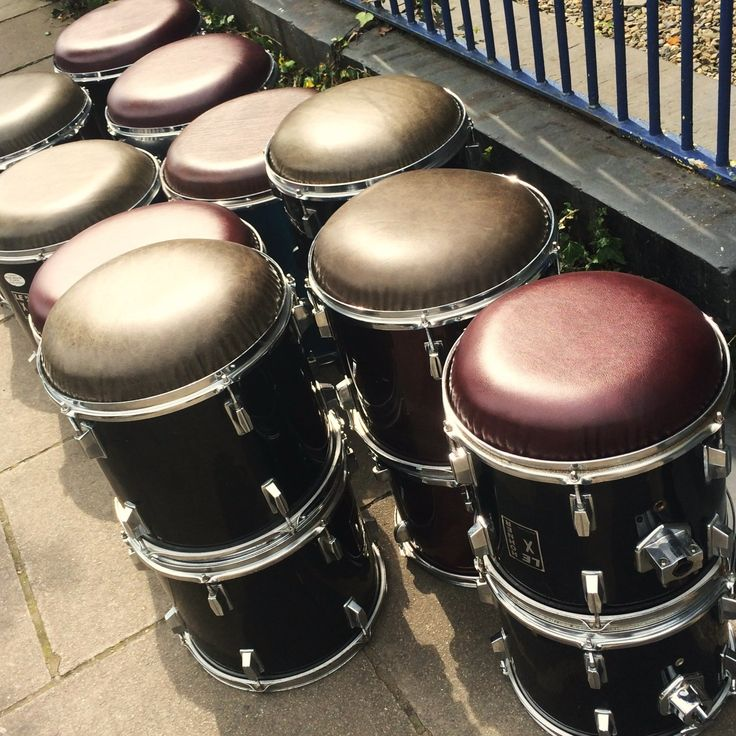 A selection of leather-topped double drum stools lined up and ready to be delivered to Y Lloft Bar and Music venue in North Wales UK. & 10 best Drum Furniture and Clocks images on Pinterest | Drums ... islam-shia.org