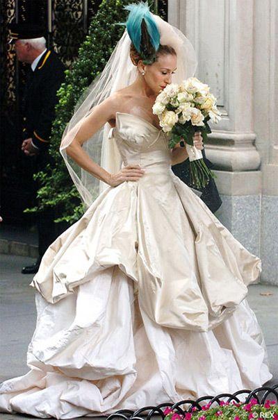 Carrie Bradshaw, wearing wedding dress by Vivienne Westwood