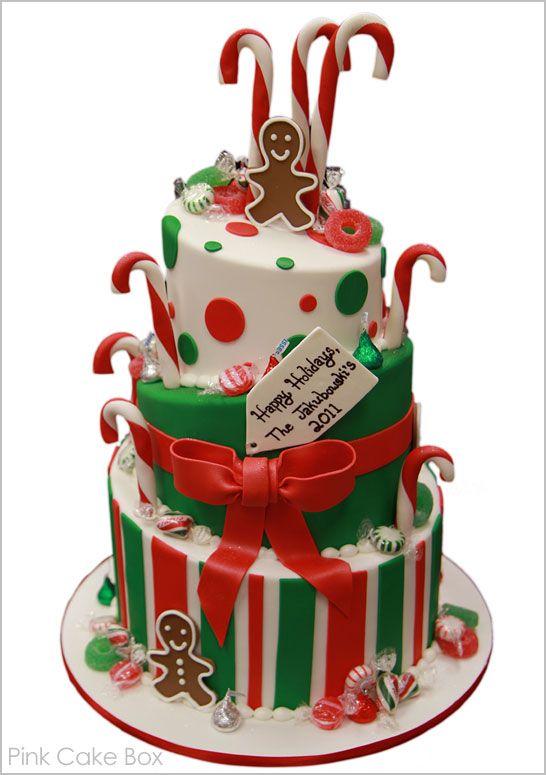 half baked - pink cake box - christmas - christmas cake - gingerbread man & candy canes cake