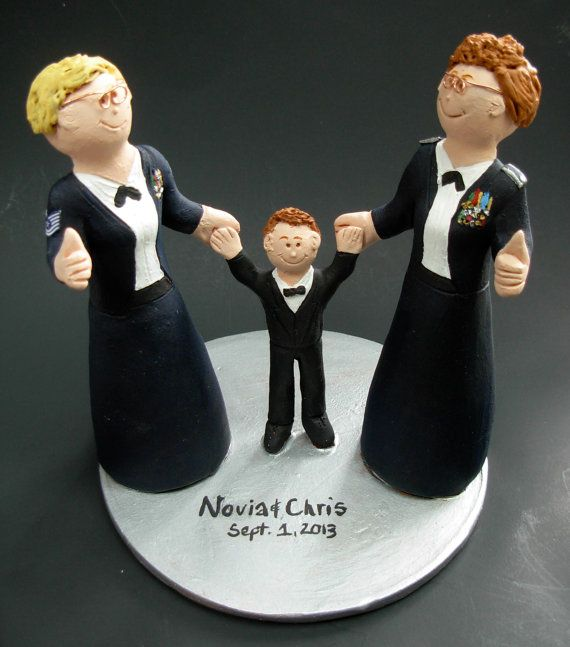 Gay Army Bride's Wedding Cake Topper, Lesbian Wedding Cake Topper, Wedding Cake Topper for Two Women, gay marriage figurine, lesbian wedding   these were commissioned for gay brides marriages and wedding ceremonies involving two women.... be inspired by these examples and let us know what details would make the most memorable Lesbian wedding keepsake for you and yours!    $235 #magicmud 1 800 231 9814 www.magicmud.com