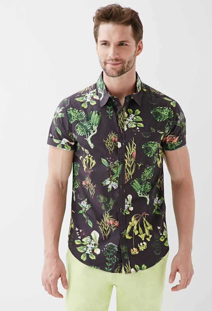 Botanical Print Collared Shirt | FOREVER21 - 2000058544