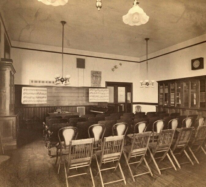 This is a photograph of a music room the in the main hall circa 1900. Image provided courtesy of the Gottesman Libraries at Teachers College, Columbia University in New York, NY #tbt #throwbackthursday #columbiauniversity #teacherscollege #music #classroom
