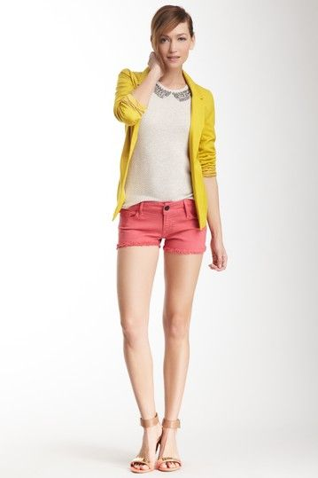 coral shorts, a dressy cream top, and a yellow blazer! What a fun outfit
