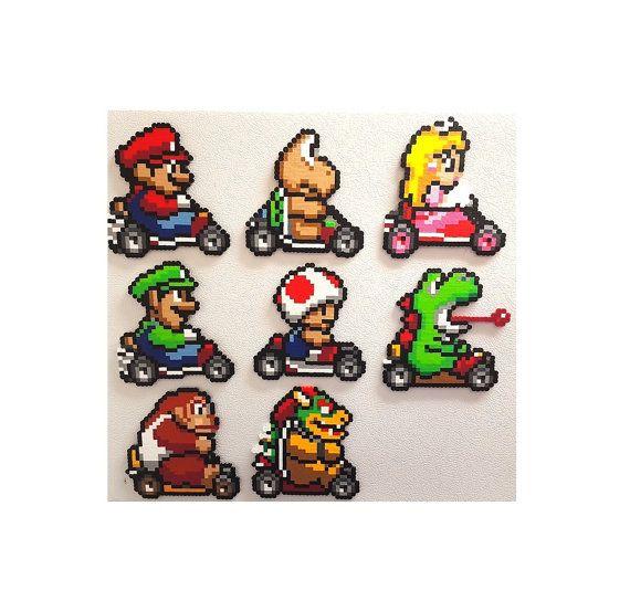 Mario Kart Perler 8bit Perler Perlen Art Mario Donkey von PerlPop