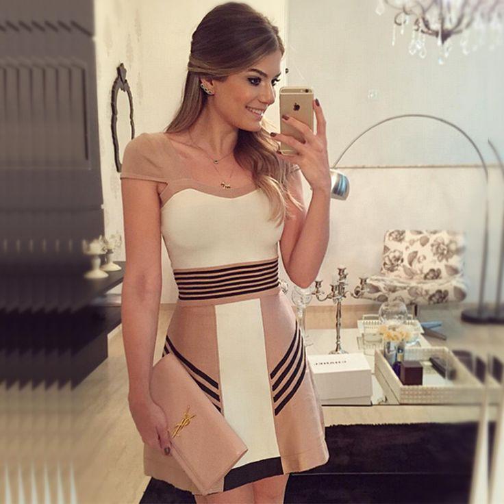 Vestidos 2016 vestido de verão  Casual e elegante Desigual Vestidos de manga curta listrada bonito Formal Vestidos