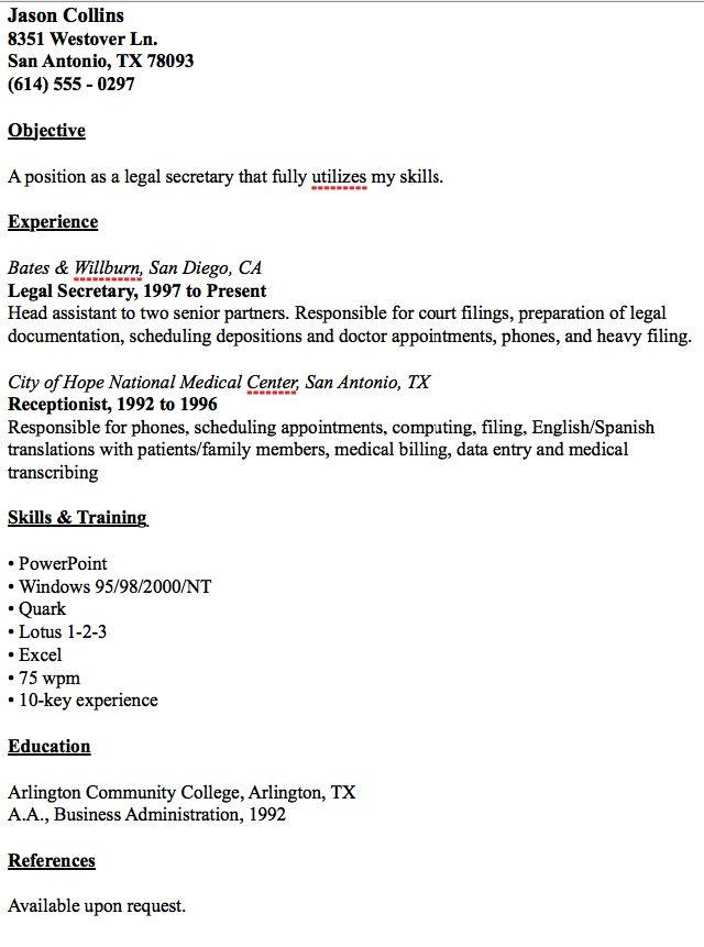 Example Of Legal Secretary Resume - http://resumesdesign.com/example-of-legal-secretary-resume/