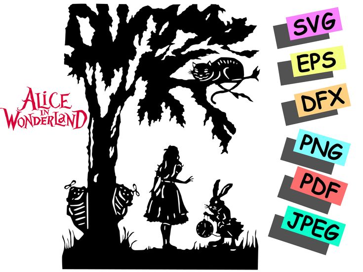 Alice, Cheshire Cat on tree and Rabbit svg, Alice in Wonderland SVG for Cricut, Alice Silhouette , Alice in silhouette, Alice in Wonderland