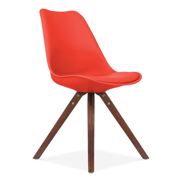 Eames Inspired Red Dining Chair with Pyramid Style Solid Oak Wood Legs