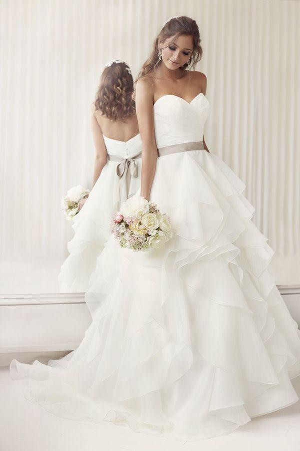Elegantly Crafted Ruffled Essense of Australia Strapless Wedding Dresses with Ribbon