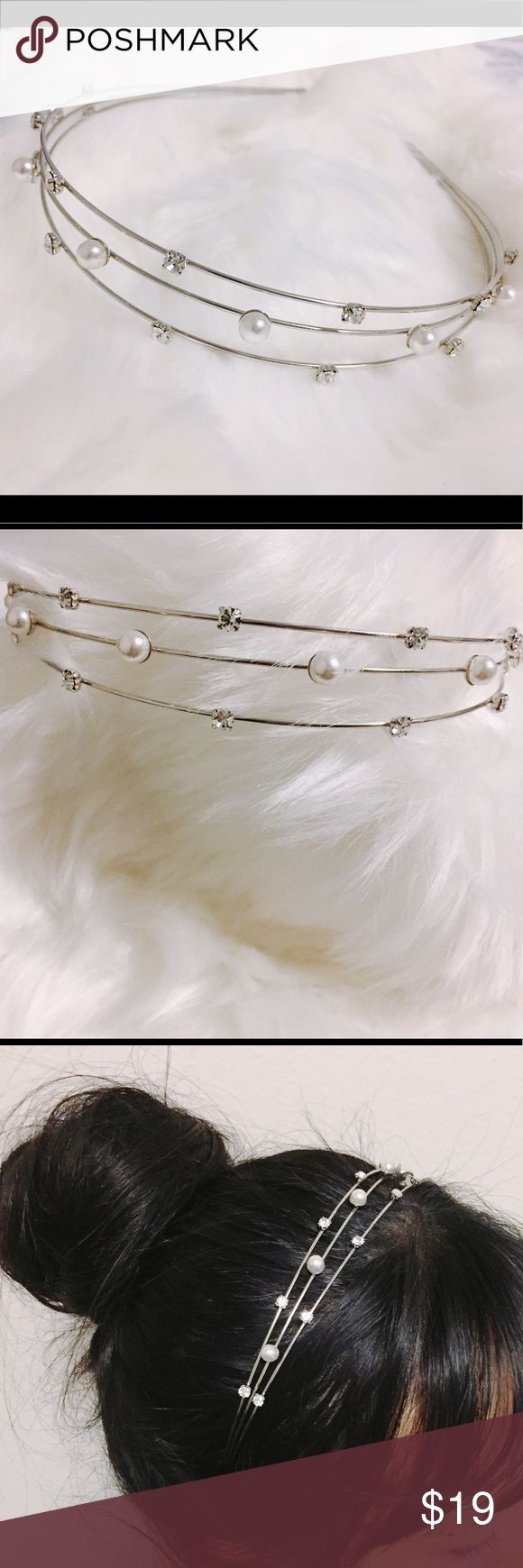 NEW JEWELED TRIPLE LAYER HEADBAND NEW JEWELED TRIPLE LAYER HEADBAND. Excellent condition, no missing stones or pearls. Stainless steel triple layer with faux pearls and cubic details. Feel free to ask any questions if you have. Thank you Accessories Hair Accessories
