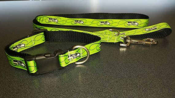Check out this item in my Etsy shop https://www.etsy.com/listing/471465233/green-seattle-seahawks-dog-collar-and