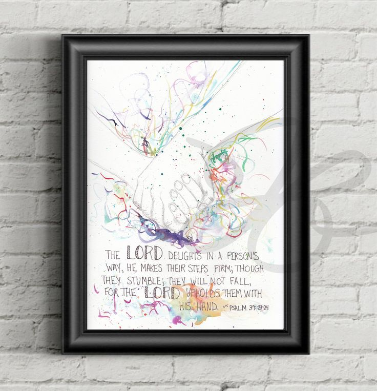 Psalm 37 23 24, Holding Hands canvas, print, Bible verse art, Bible verse canvas, wall art, Scripture, Waterecolor, Wood Panel, Cards by AStolenLove on Etsy