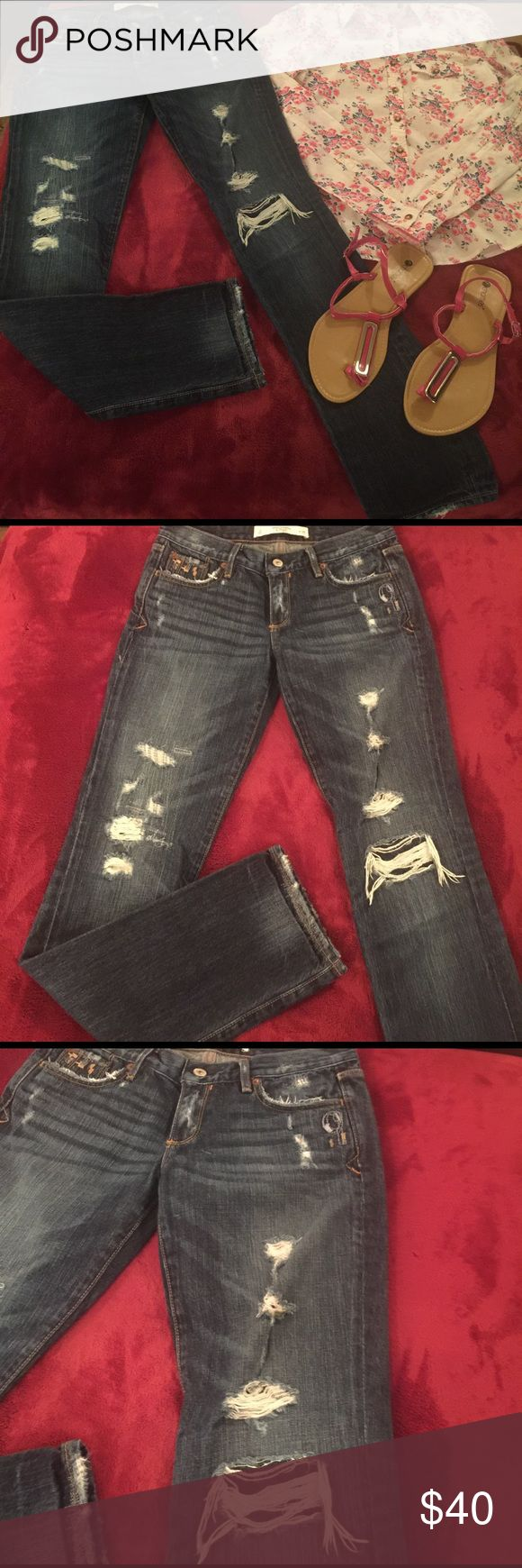 NWOT! Abercrombie Jeans! NWOT! Size 2. 31 length! Super Cute! Jeans are a dark wash! A tad darker than pic! Shirt in pic is Abercrombie Floral button down! Sandals are Chatties in excellent condition size 8. Cute outfit. Other items listed separately! Abercrombie & Fitch Jeans Straight Leg