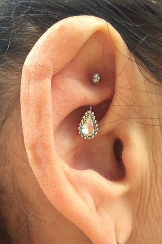 Rook earring jewelry 16g daith ring curved by SirenBodyJewelry