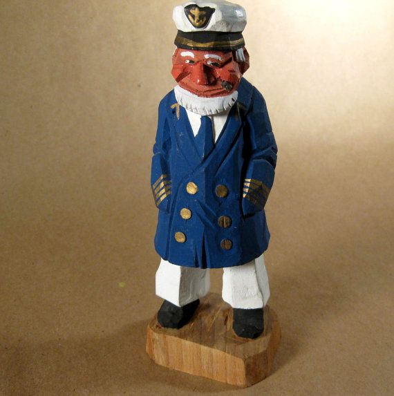 Vintage carved wood sea captain nautical