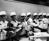 Women sitting under hair dryers in salon 1960's