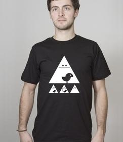 Shirt Men Black Achtung Birdy! white - SILBERFISCHER