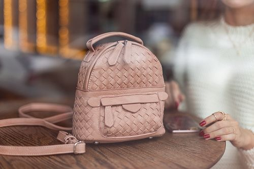 """Breakfast at boutique - Мини-рюкзак с плетением в цвете """"Nude"""""""