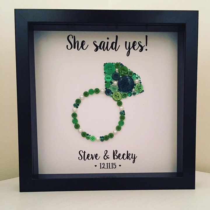 Button Engagement Picture 'She said yes!' Personalised to match the bride to be's emerald and pearl engagement ring. In a 9in x 9in black box frame. Handmade by Button People https://www.instagram.com/buttonpeople