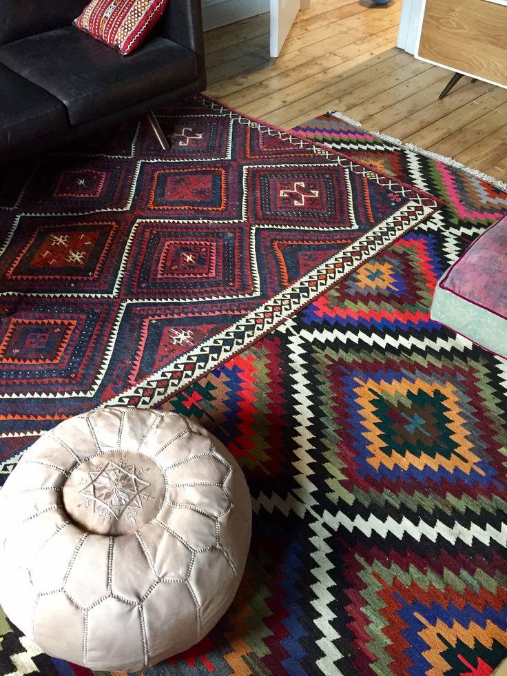 Layered Kilim Rugs. Living room