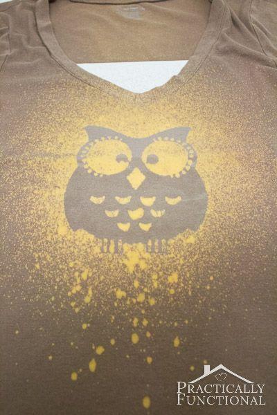 DIY Bleach Spray Shirt tutorial, how could anyone not just LOVE an owl! http://www.practicallyfunctional.com/diy-bleach-spray-shirt/