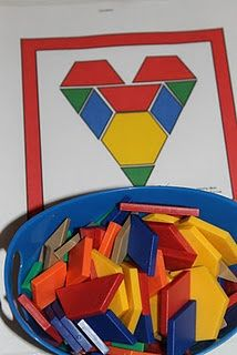 Heart pattern block template - would be fun for Valentine's day!