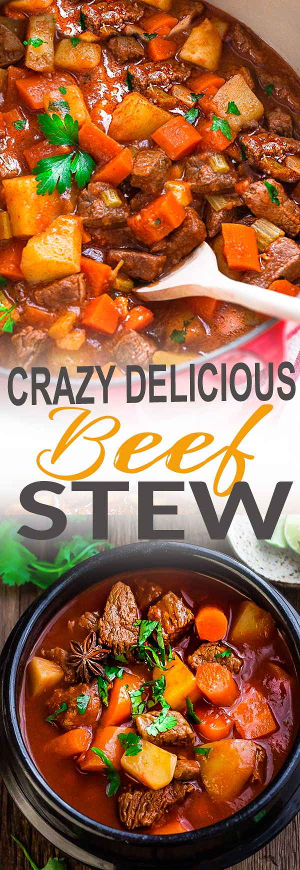 This crazy delicious recipe for Classic Homemade Beef Stew makes the perfect comforting dish on a cold day. Best of all, it's easy to make and has the most delicious tender meat with carrots, potatoes, sweet potatoes and celery. So flavorful and good for warming up on a cold dad. A hearty lunch or dinner that totally reminds you of mom's home cooking!