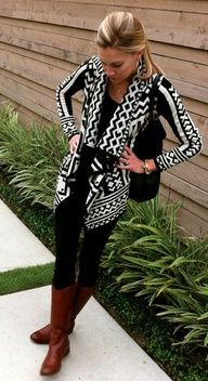 aztec sweater black white. black boots instead of brown though