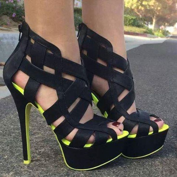 Sexy Nubuck Leather Cut-OutsThick Platform Sandals
