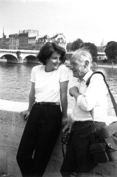Robert Doisneau and Juliette Binoche, Paris, 1991.