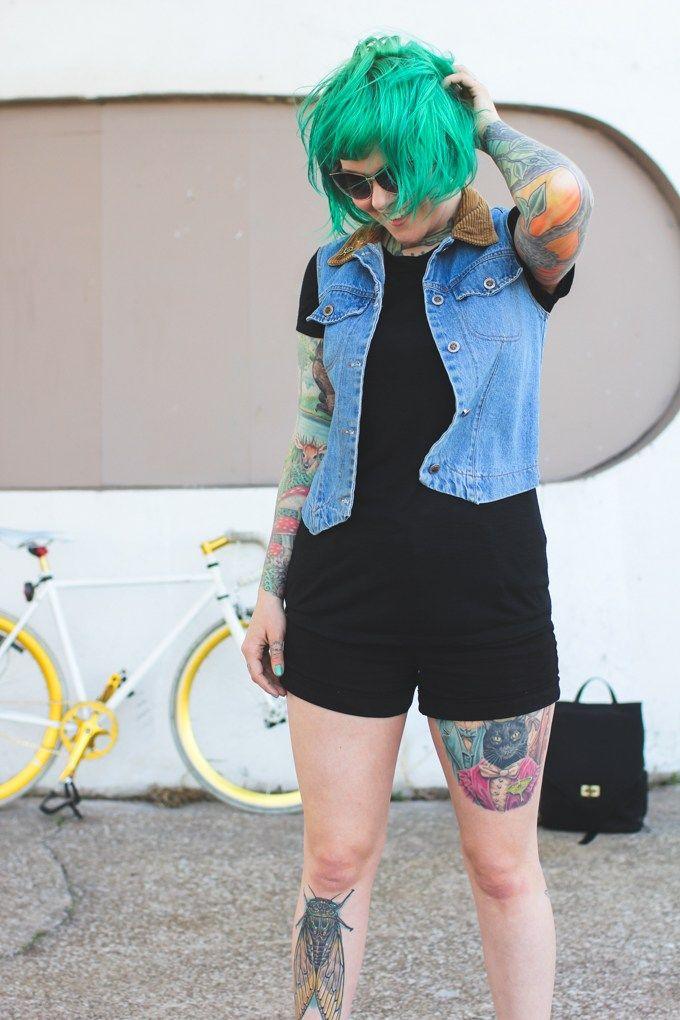 details jean vest – thrifted shirt – Gordmans shorts – Gordmans shoes – Palladium Boots sunglasses – thrifted lapel pins – Valley Cruise Press camera bag &…
