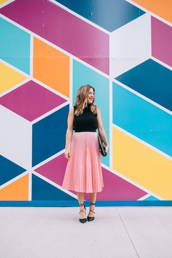 Pink pleated skirt | @halliekwilson