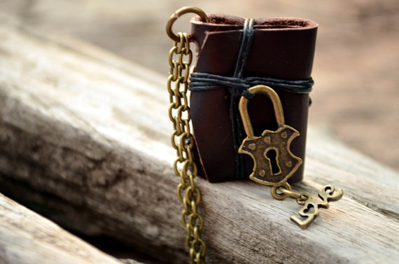 MiniatureBook Necklace Lock & Brown Color leather by fullmoonn, $7.00