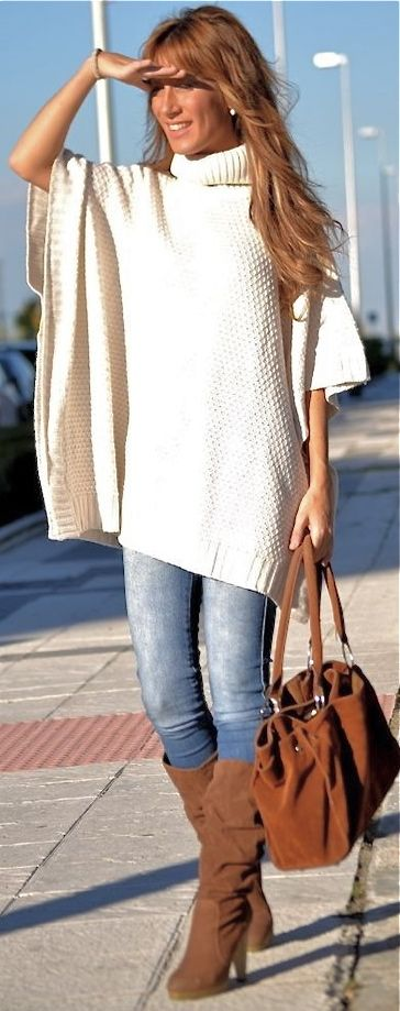 Bershka Poncho, distressed skinnies, cognac boots and bag