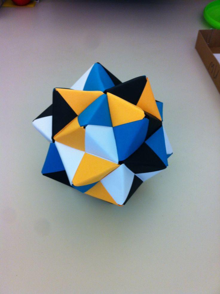 Modular Origami - Small Triambic Icosahedron - Jacksonville Jaguar Theme
