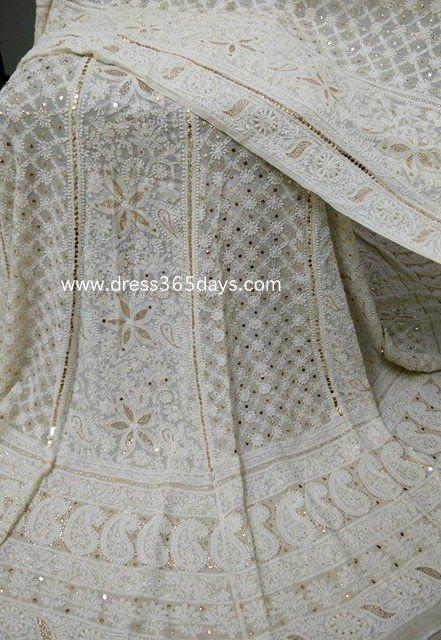 Pure Georgette Lucknowi Lehenga with Heavy Mukaish/Kamdani