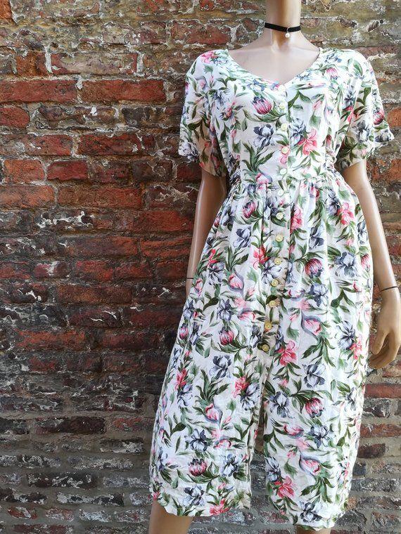 Vintage Floral Print Button Down Dress 90s Dress Tie Back Indie Dresses Vintage Short Dress Grunge Dress