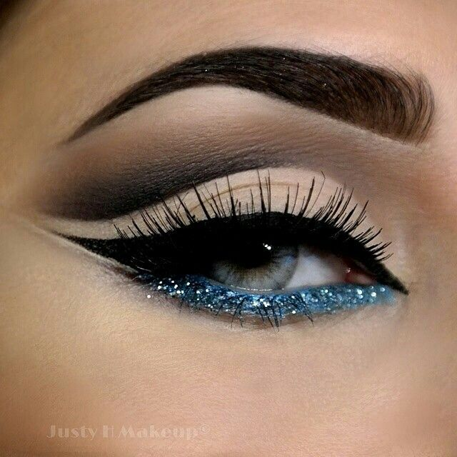 Blue Glitter Makeup | Party Makeup | Evening Makeup @JustyHMakeup - perfect cut crease with glitter blue http://lady-flower123.blogspot.com/
