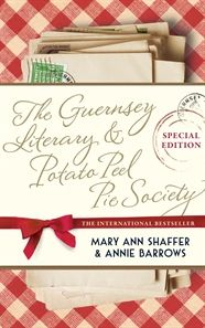 The Guernsey Literary and Potato Peel Pie Society by Mary Ann Shaffer and Annie Barrows. 1946, London, and Juliet Ashton begins a letter correspondence to a man on Guernsey who is a member of the Guernsey Literary and Potato Peel Pie Society. Soon, all the members are writing to Juliet. As letters fly back and forth, Juliet comes to know the extraordinary personalities of the Society and their lives under the German occupation of the island during WWII.