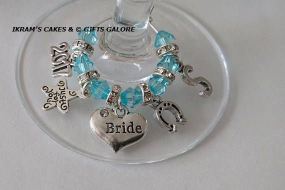 Check out this item in my Etsy shop https://www.etsy.com/uk/listing/532549387/something-blue-bride-wine-charms-wedding