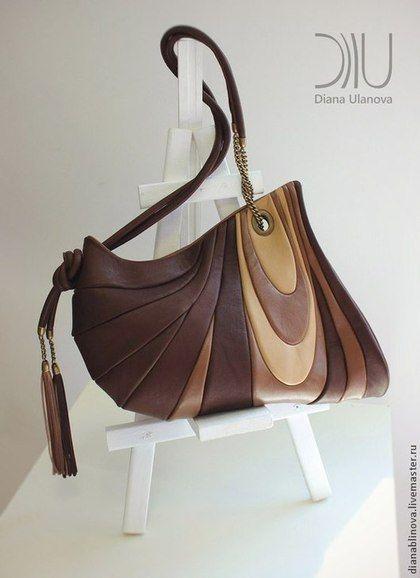 """Сумка кожаная """"Шиншилла"""". - коричневый,однотонный,Кожаная сумка,необычная сумка"""