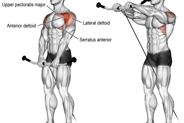 Cable front raise exercise