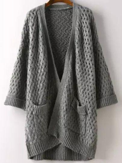 Grey Long Sleeve Pockets Chunky Cardigan