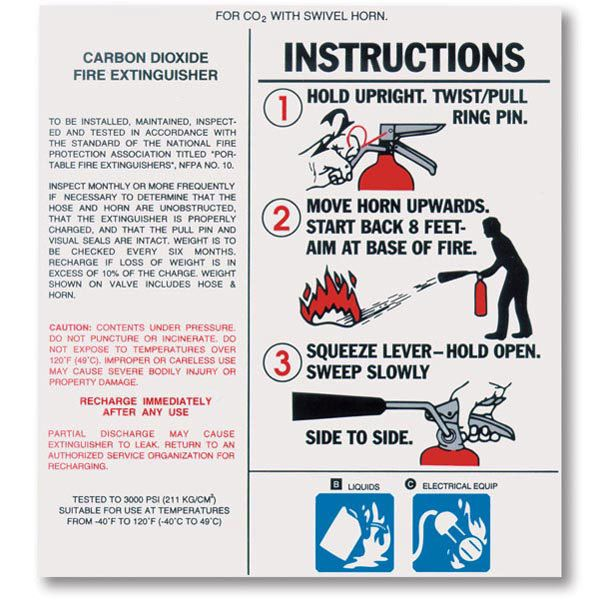Carbon Dioxide Fire Extinguisher Nameplate Labels W Instructions Fire Extinguisher Extinguisher Name Plate