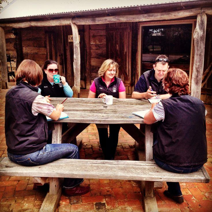 Our Wednesday morning cellar door team meeting - the brains behind the operation. #teamwork #cellardoor #winery