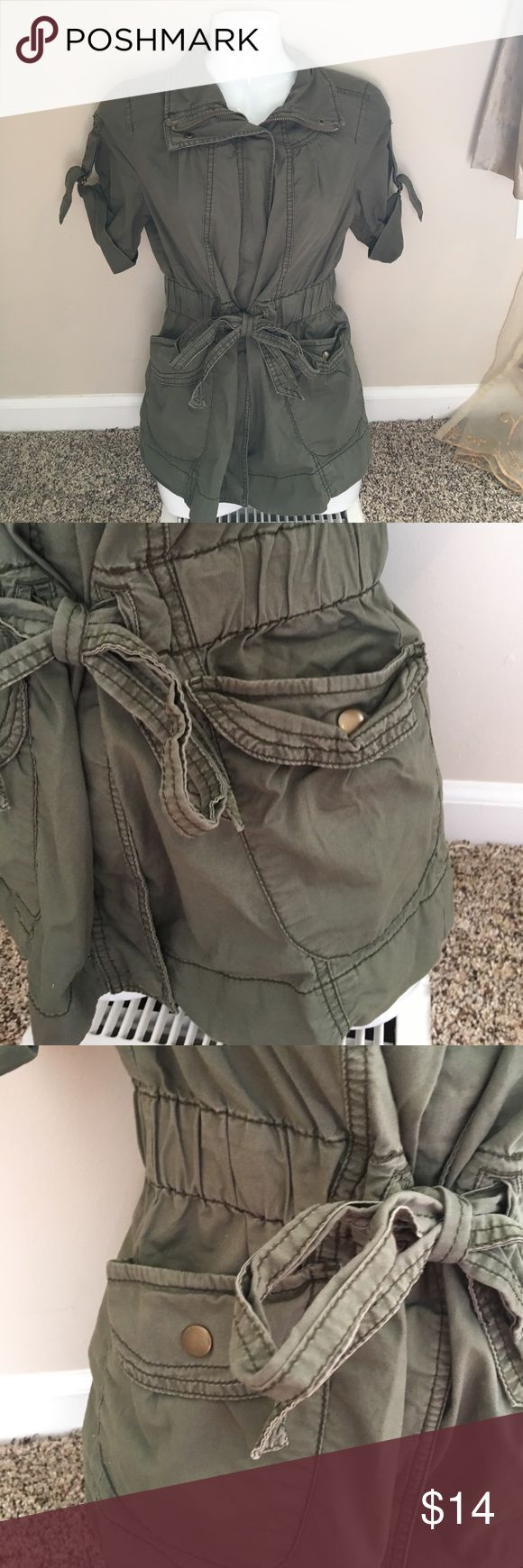 Army Green Zip Up Jacket Cute army green zip up jacket! Super cute! Size small. From Decree which is from JC Penny's! Make an offer or bundle to save even more! Decree Jackets & Coats Utility Jackets